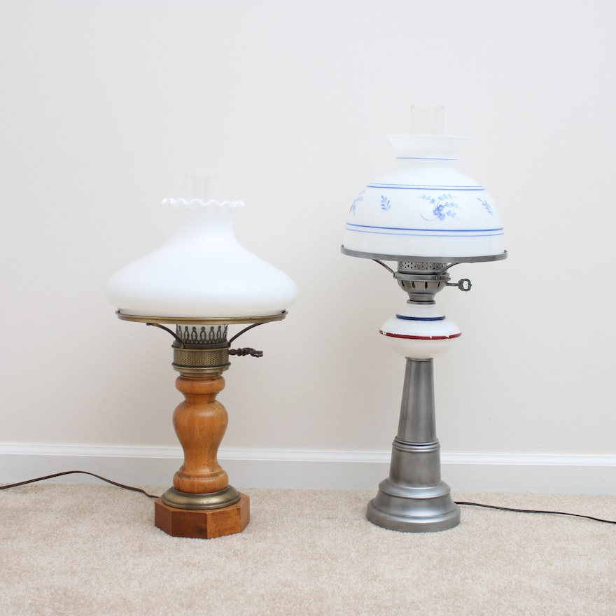 Vintage converted oil table lamps ebth vintage converted oil table lamps mozeypictures Image collections
