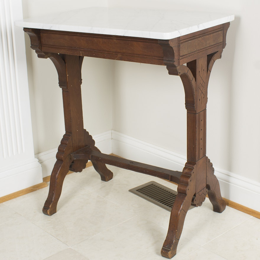 Antique Marble Side Table Reading: Antique Eastlake Marble Topped Side Table