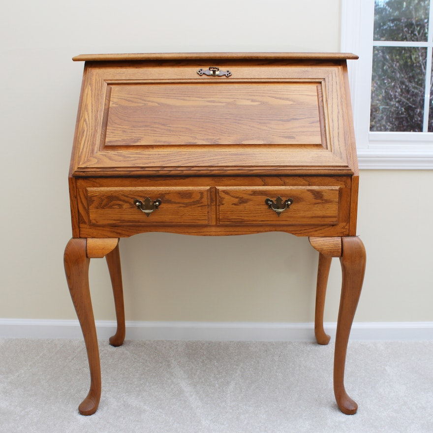Oak Fall Front Writing Desk By Broyhill