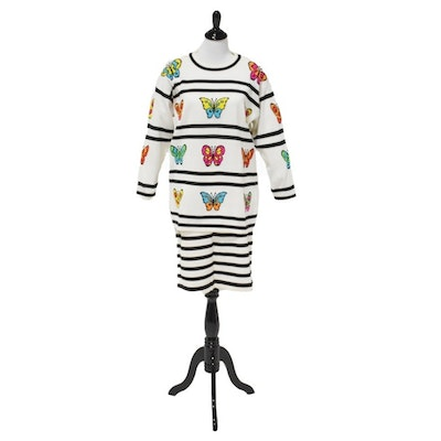 Escada Black and White Knit Sweater and Skirt with Colorful Butterflies