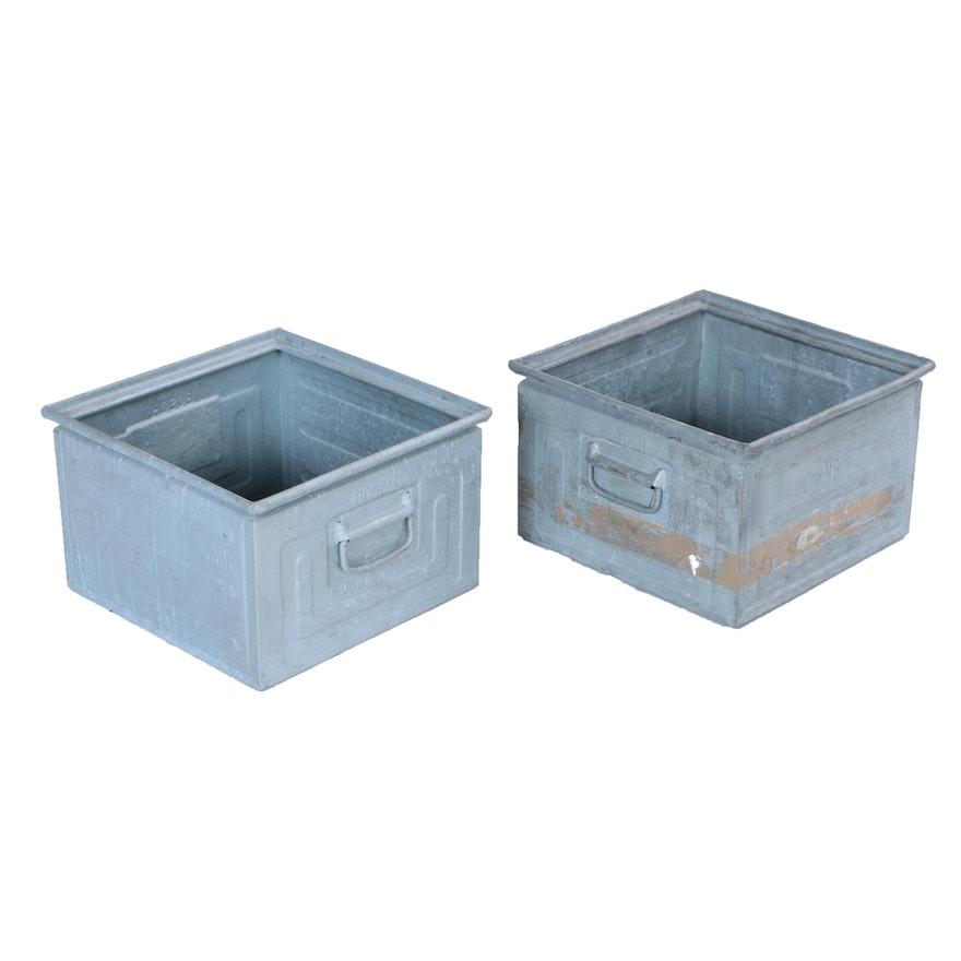 Two Bosch Galvanized Metal Storage Bins