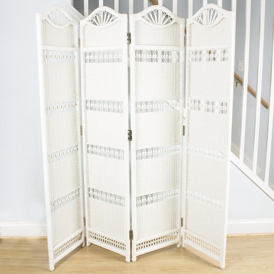 Wicker Room Divider Screen In White