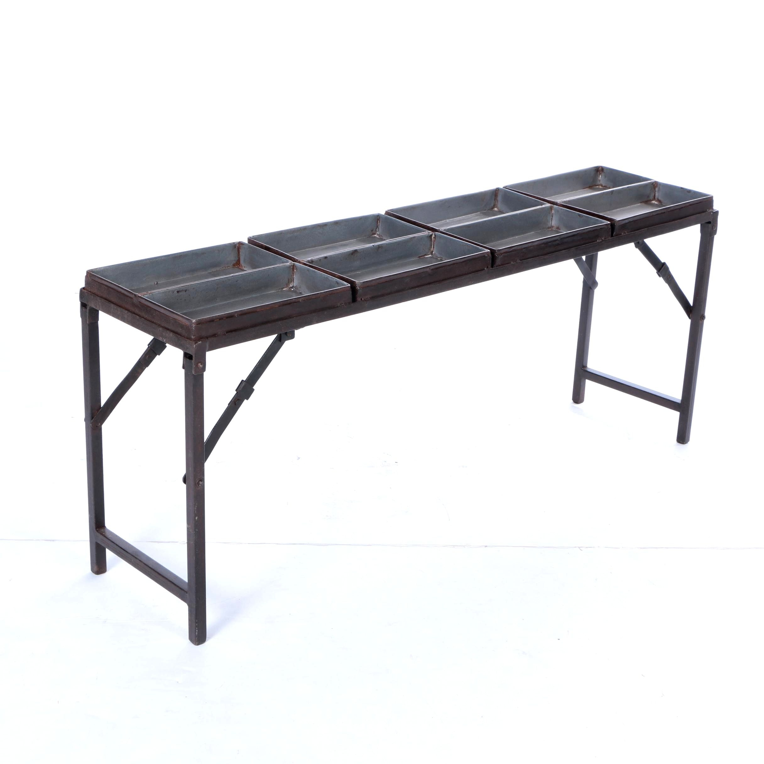 Contemporary Folding Metal Table with Bins EBTH