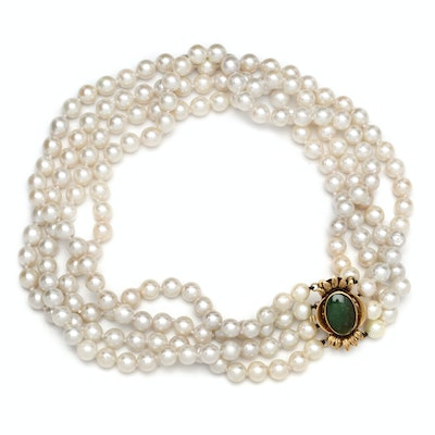 Four Strand Cultured Pearl Choker with 14K Yellow Gold and Jadeite Clasp