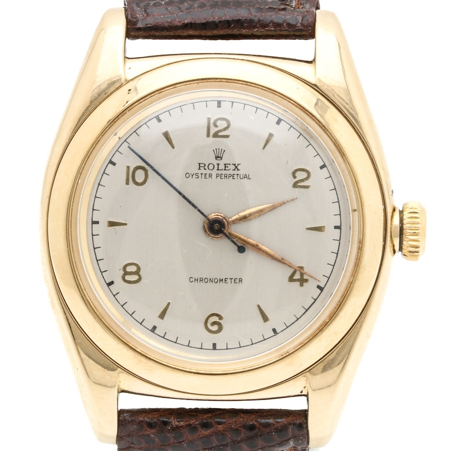 14K Gold Rolex Oyster Perpetual 'Bubble Back' Wristwatch