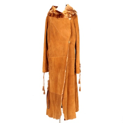 Vintage Fantazia By Hana Leather Coat with Faux Fur Lining