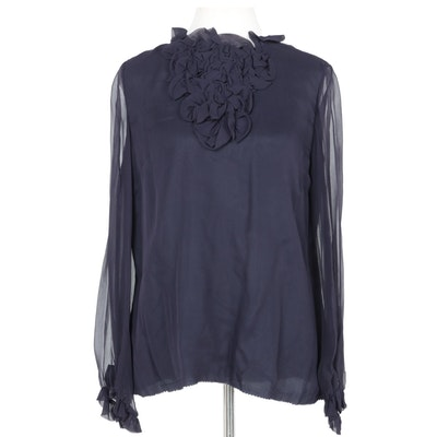 Women's Vintage Cardinali Navy Blue Blouse