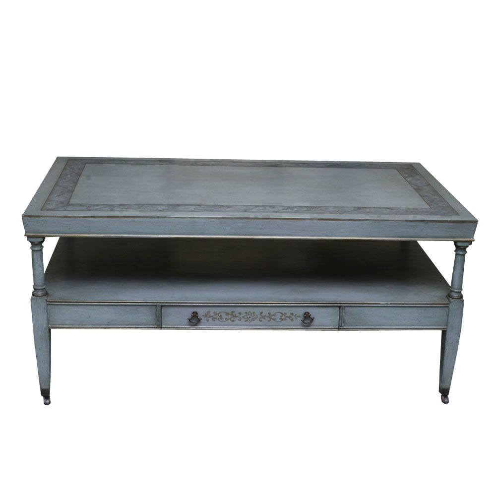 French Provincial Style Painted Coffee Table Ebth