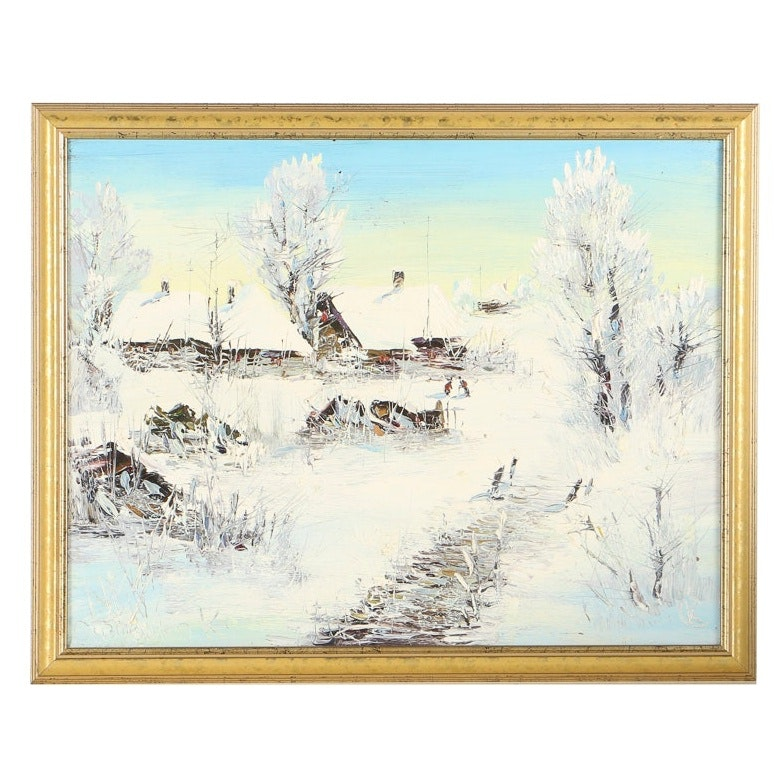 "Original Painting ""Winter Stillness"" by Ukranian Artist Konstantin Sanchenko"