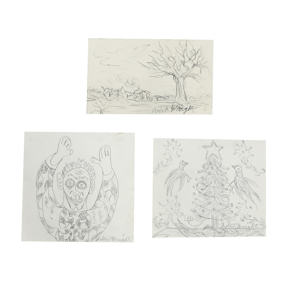 Robert Wright Graphite Drawings on Paper