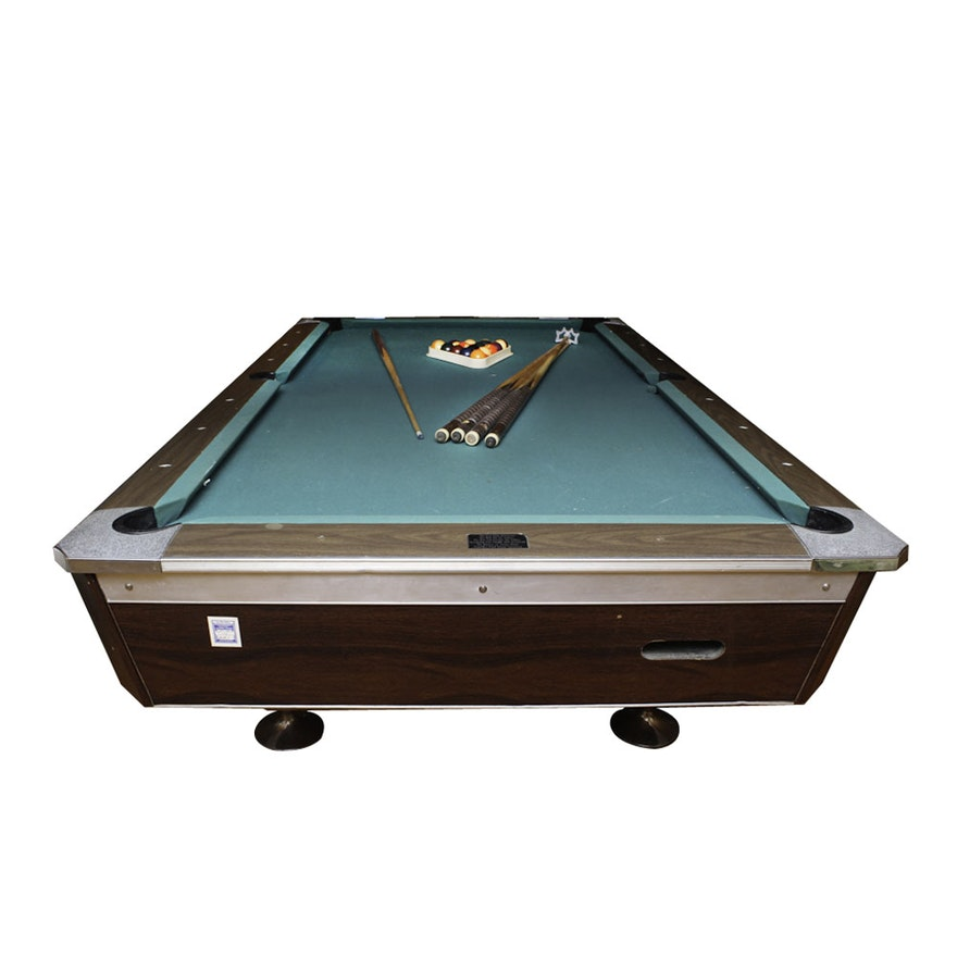 Vintage Fischer CoinOperated Billiards Table With Accessories EBTH - Fischer pool table