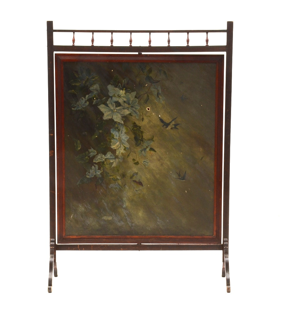 Antique Victorian Room Divider Screen with Hand Painted Swiveling