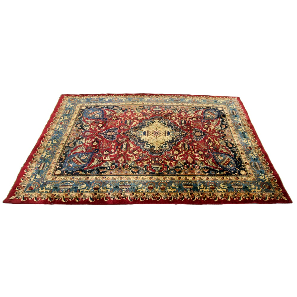 Hand-Knotted Signed Persian Qum Area Rug