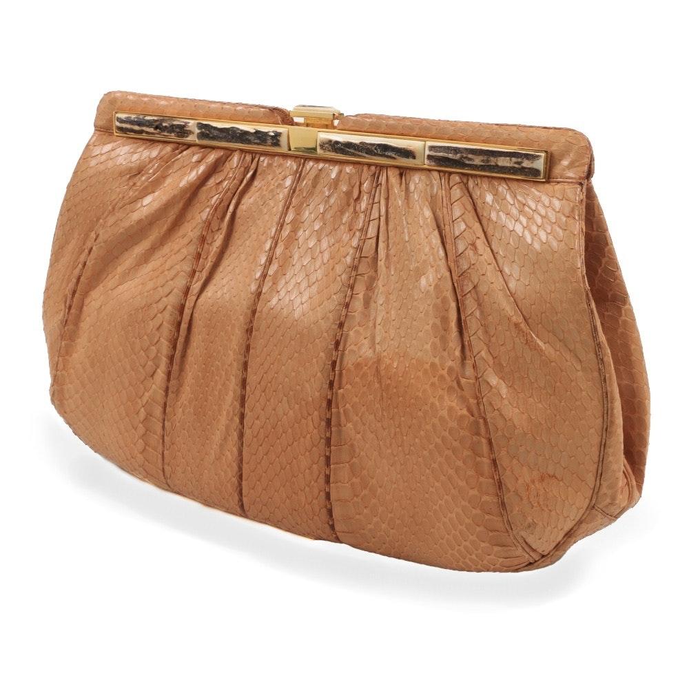Judith Leiber Tan Snakeskin Clutch Handbag