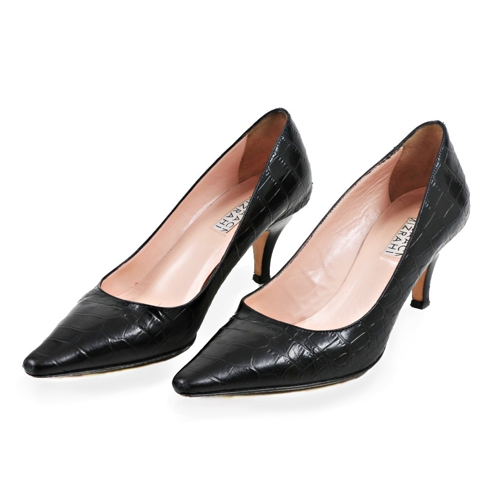 Isaac Mizrahi Black Embossed Leather Pumps