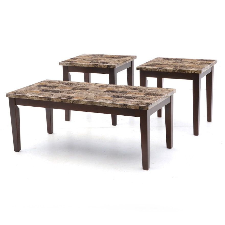 Faux Stone Top Coffee Table And End Tables