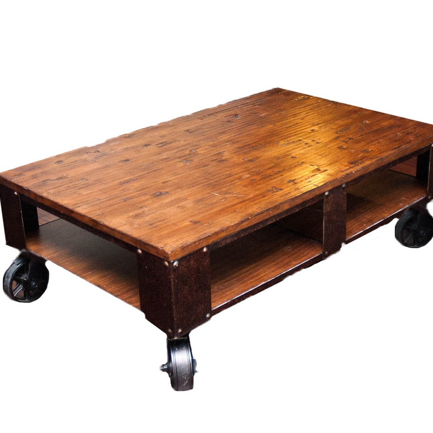 industrial reclaimed wood style coffee table on wheels ebth. Black Bedroom Furniture Sets. Home Design Ideas