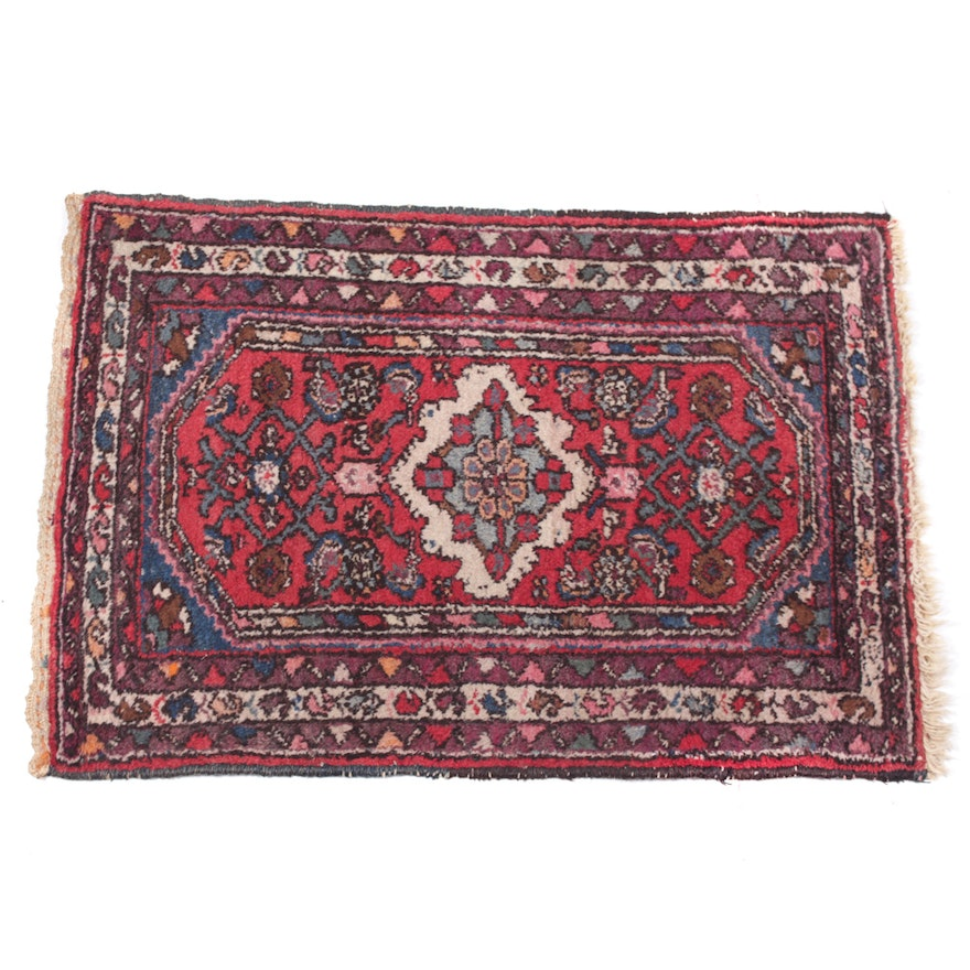 Hand Knotted Persian Tabriz Wool Area Rug Ebth: Antique Hand-Knotted Persian Hamadan Accent Rug : EBTH