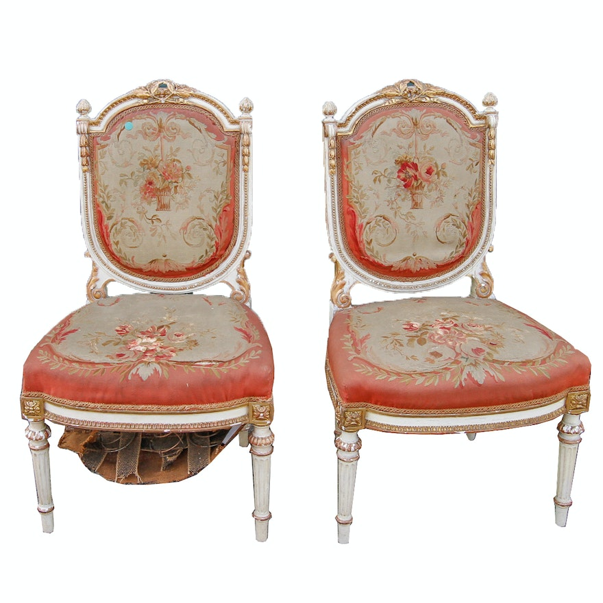 Antique Pair of Louis XVI Chairs With Tapestry Upholstery ... - Antique Pair Of Louis XVI Chairs With Tapestry Upholstery : EBTH