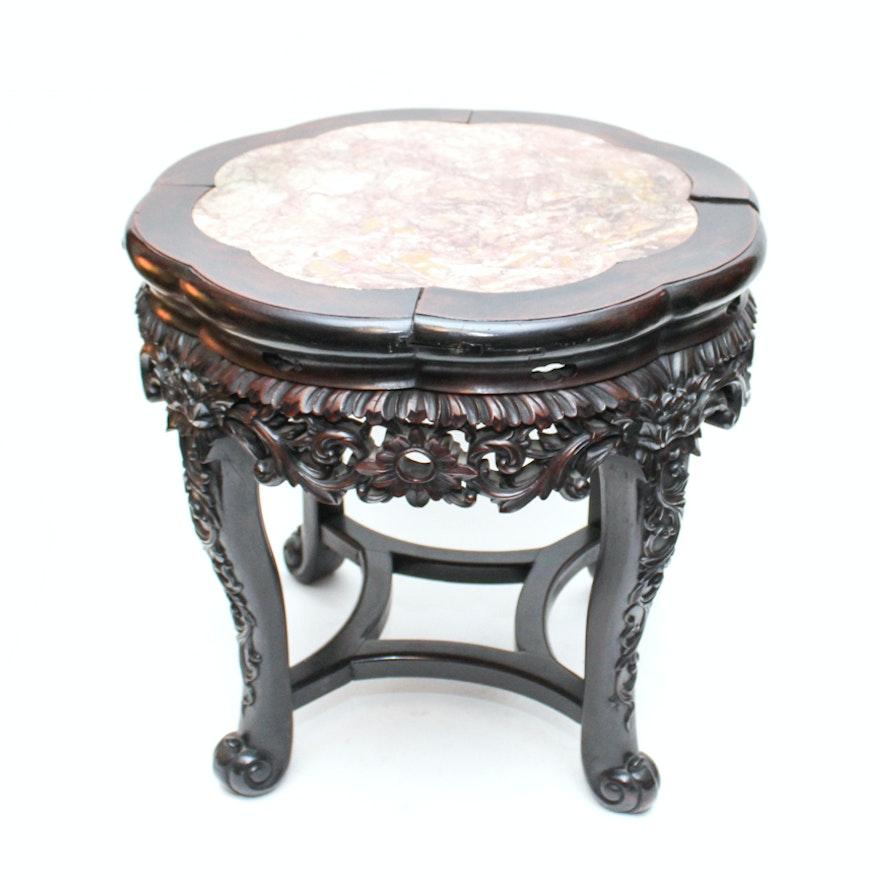 Vintage Marble Topped Floor Vase Stand Ebth