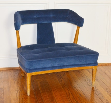 Mid Century Modern Navy Upholstered Chair