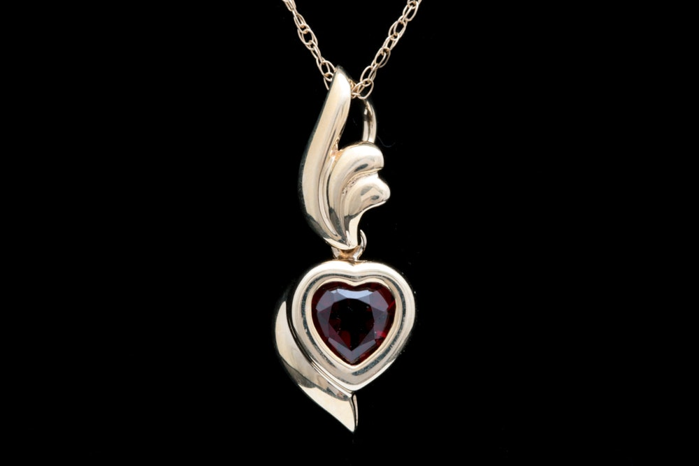 10K Yellow Gold and Garnet Heart Pendant with Chain