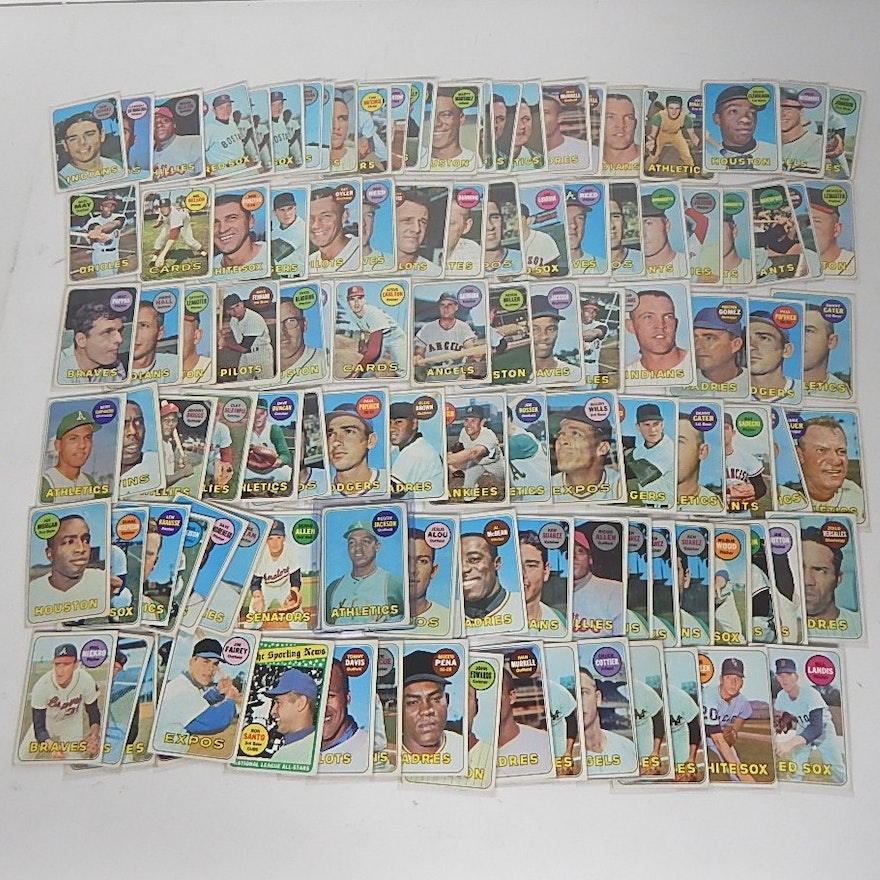 1969 Topps Baseball Card Collection With Reggie Jackson Rookie Card