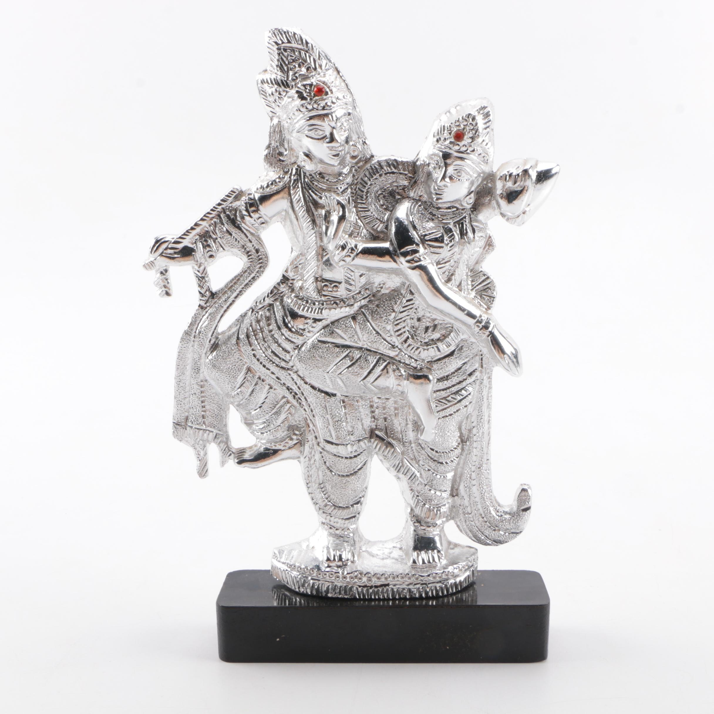 Southeast Asian Style Chrome Statue of Two Dancers