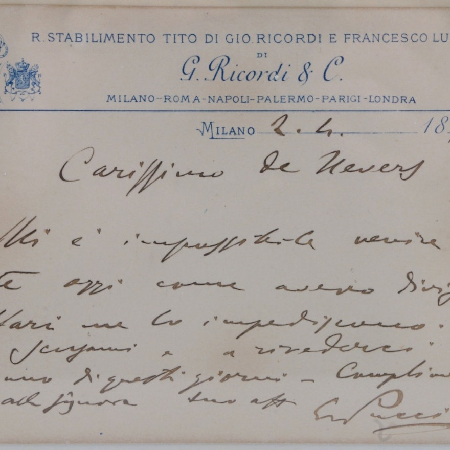 Opera Legend Giacomo Puccini (1858-1924) Hand Written and Signed Note