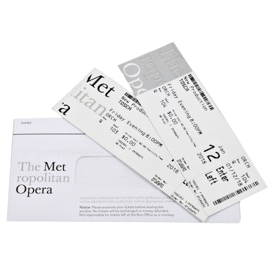 """Two Tickets from the Metropolitan Opera's January 12, 2018 Performance, """"Tosca"""""""