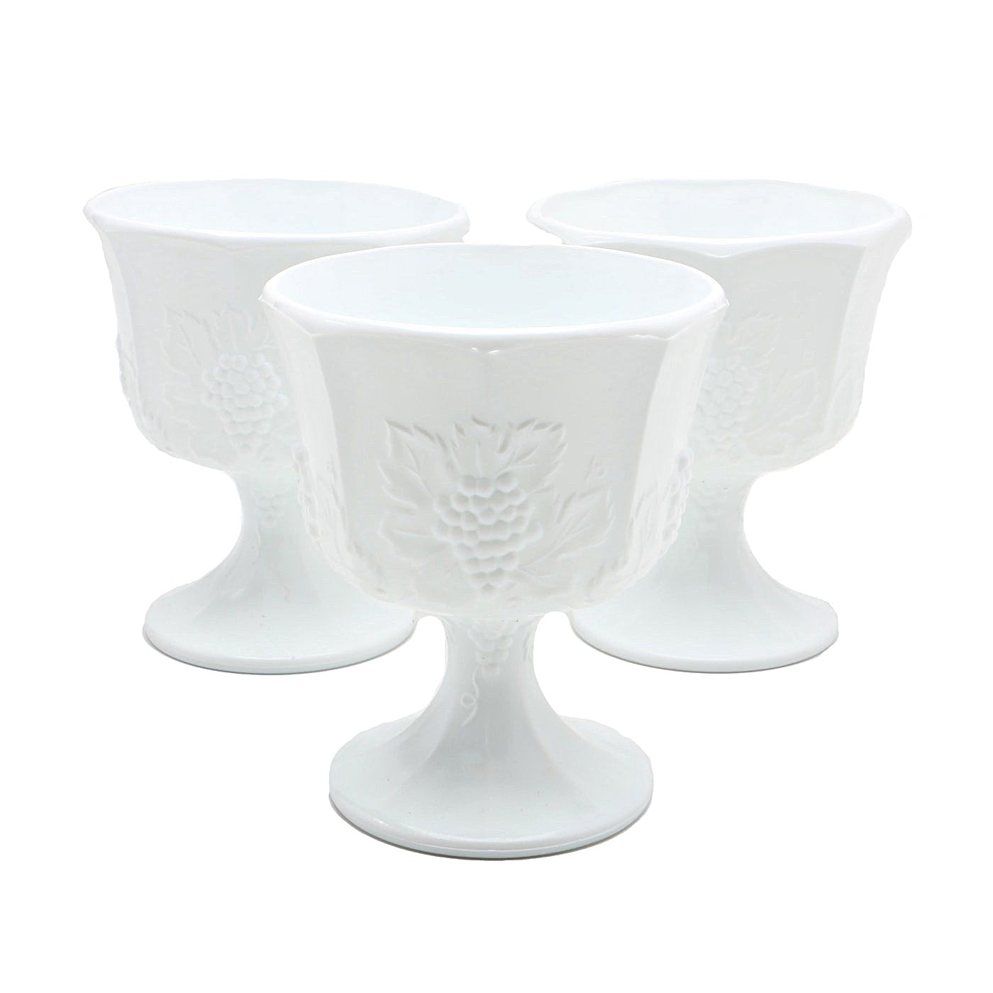 Three Milk Glass Compotes With Grape Motif