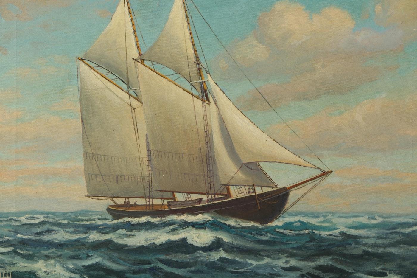 Henry Harlow Howe Maritime Landscape Oil On Canvas Quot Elsie