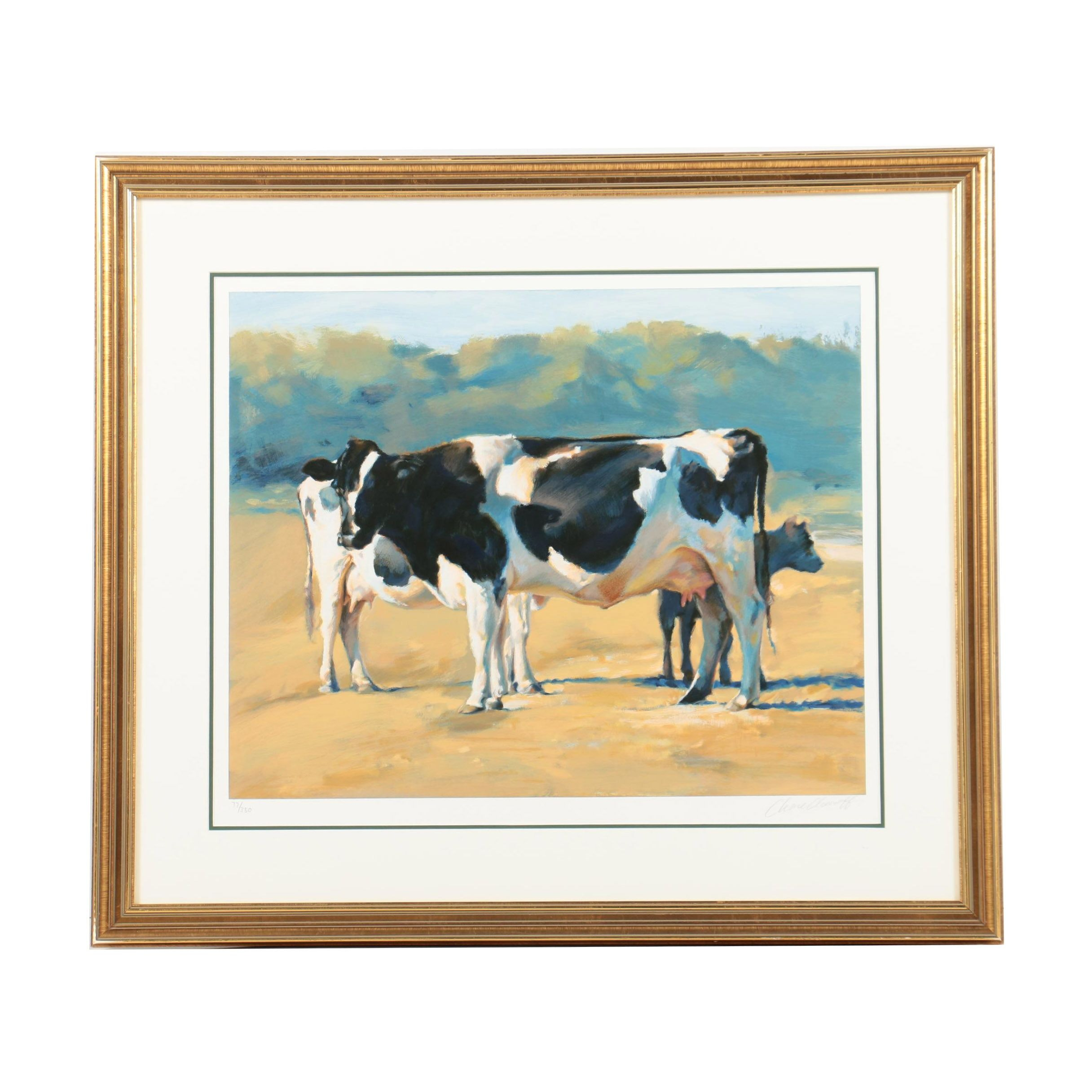 Limited Edition Offset Lithograph on Paper of Cows after Chase Chenoff