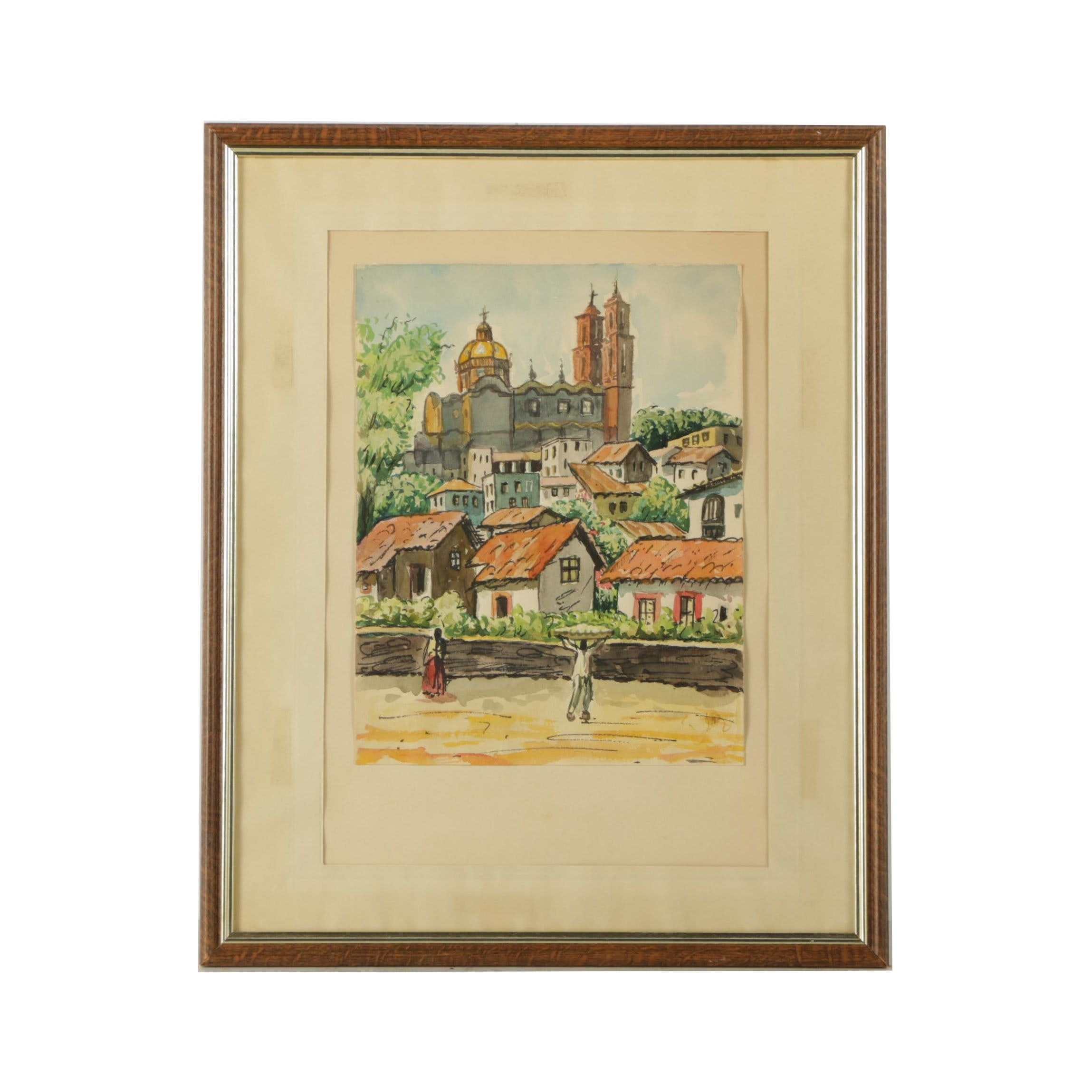 Diaz Watercolor Painting Of A Town Ebth