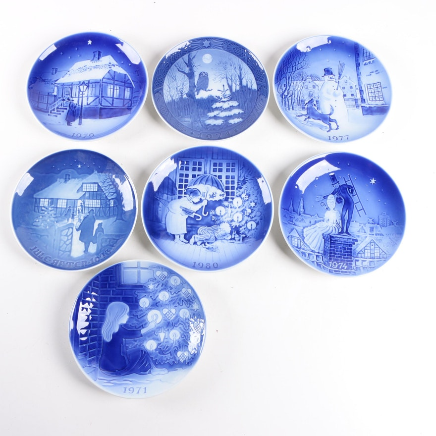 Danish Blue And White Christmas Plates