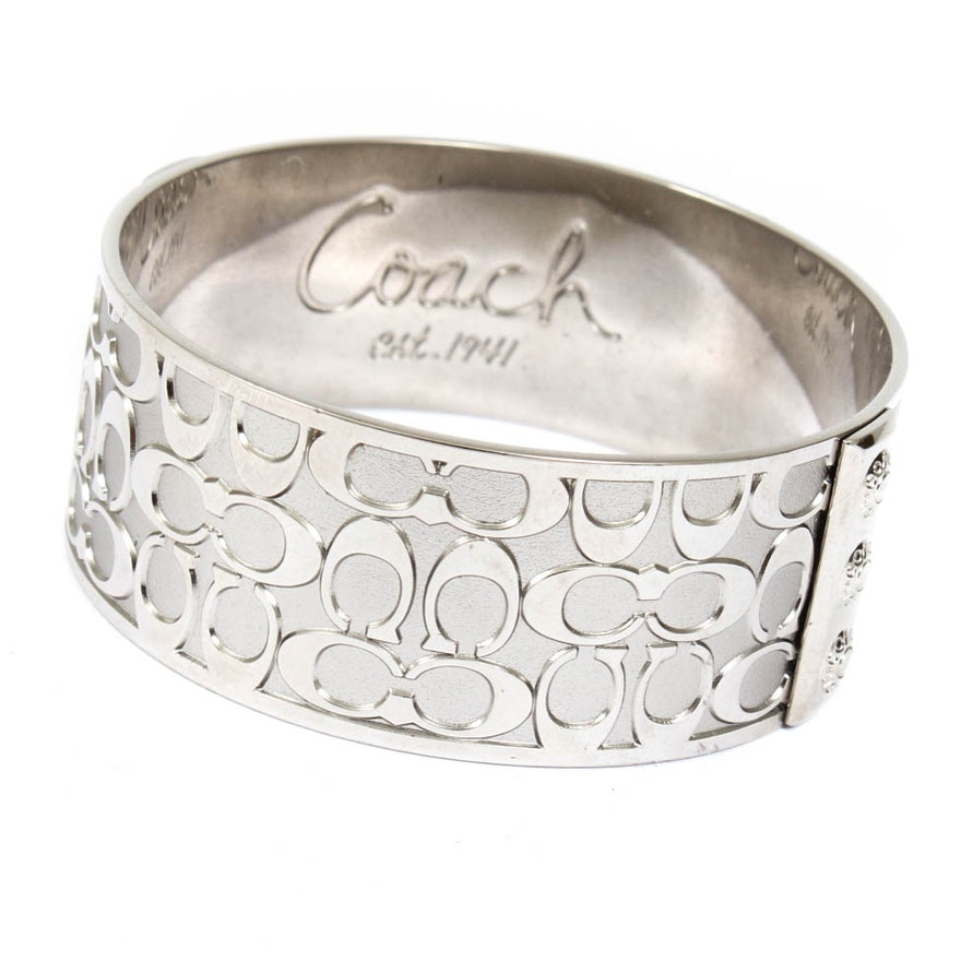 Coach Silver Tone Signature Bangle Bracelet