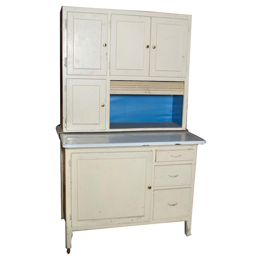 Vintage White Painted Hoosier Cabinet