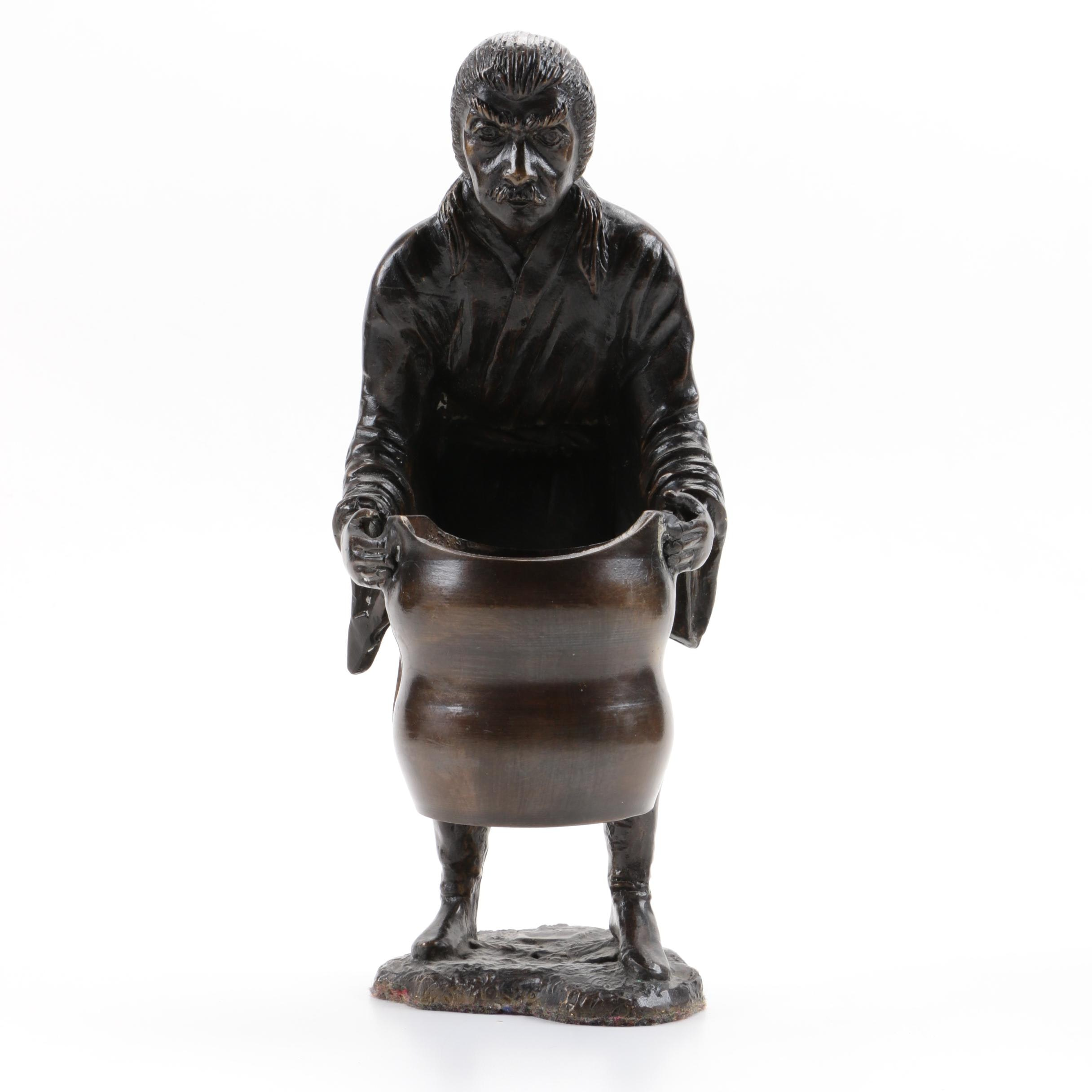 East Asian Inspired Cast Brass Figure with Handled Vessel