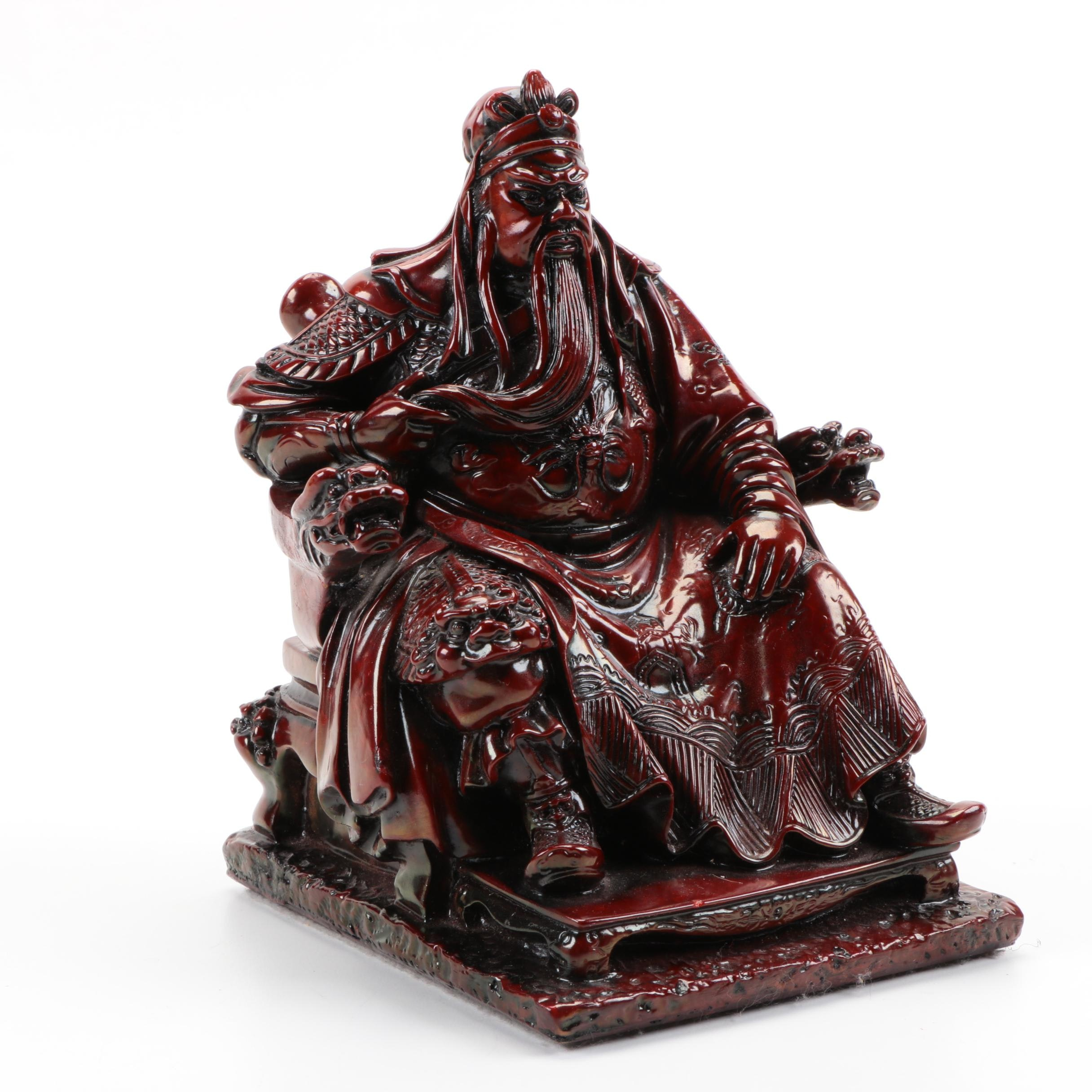 East Asian Style Red Lacquered Plaster Figurine