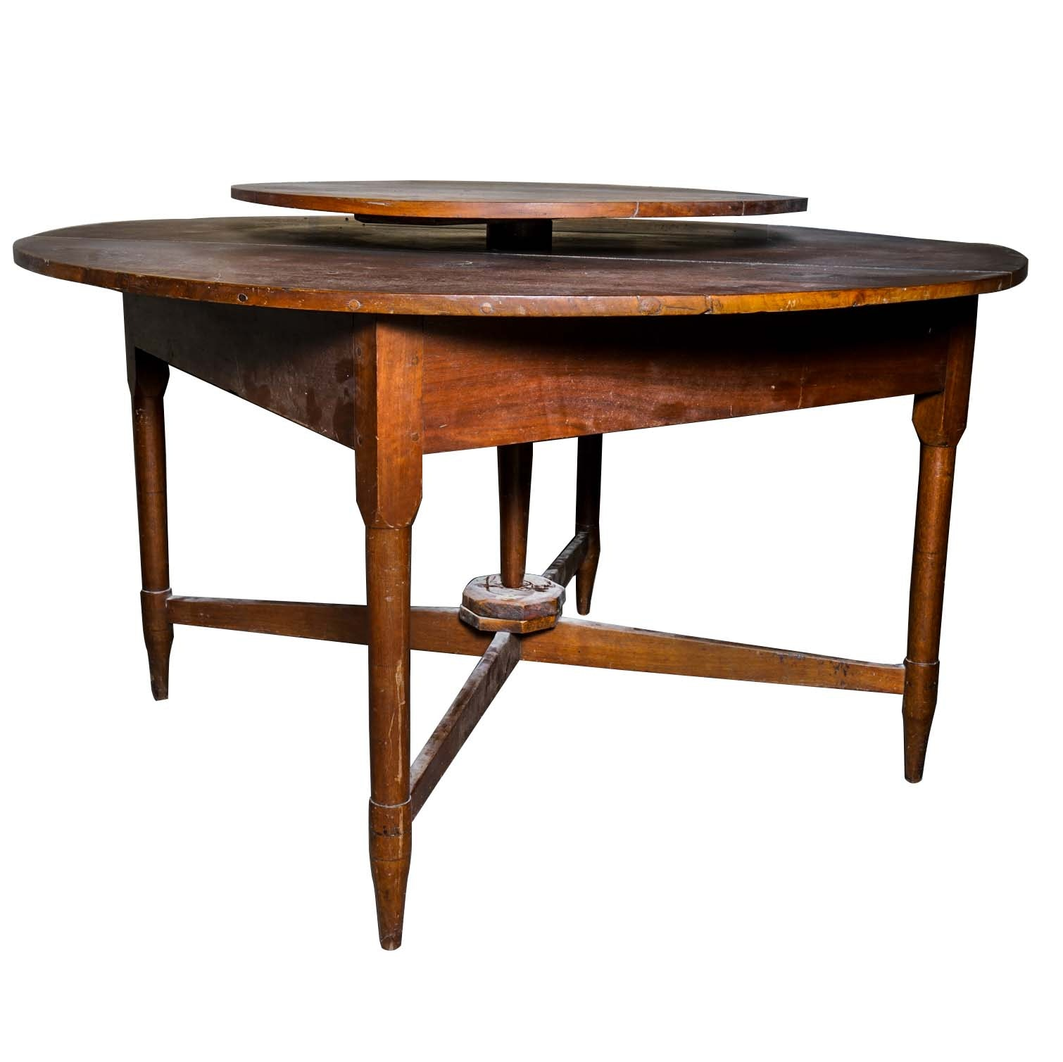 antique walnut table with lazy susan