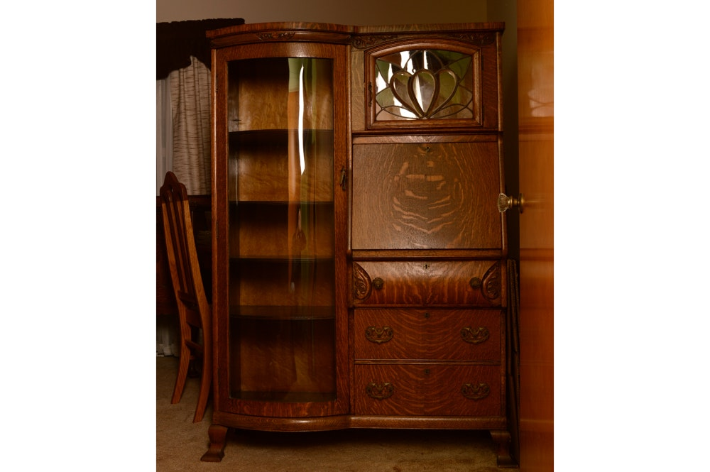 Antique Oak China Cabinet And Secretary ...