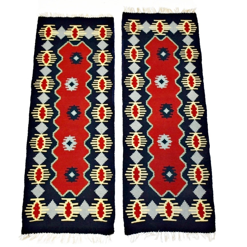 Two Hand Woven Kilim Rugs in Navy, Red and Gray Spider Pattern