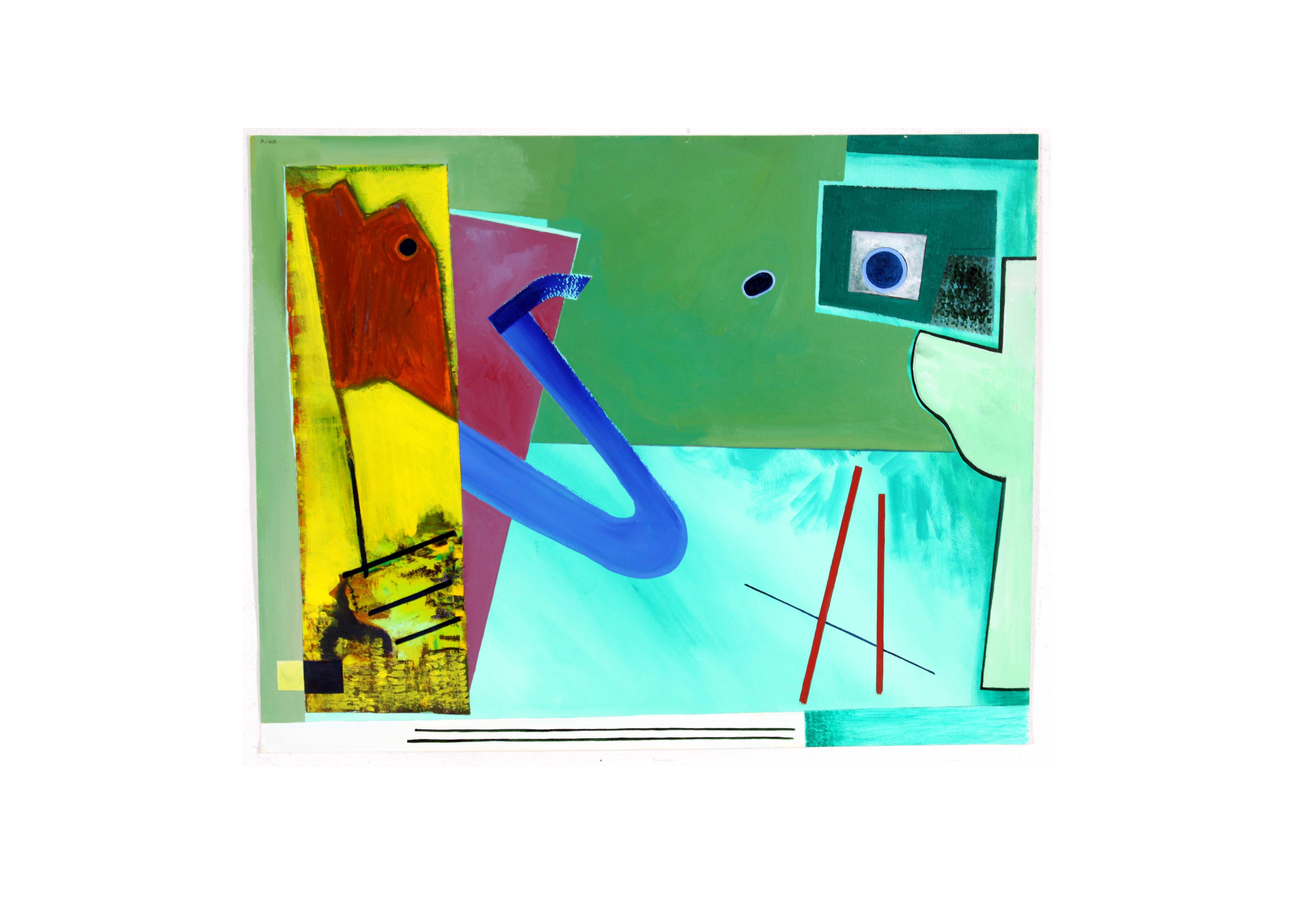 1979 Doris Vlasek Hails Original Abstract Acrylic on Paper