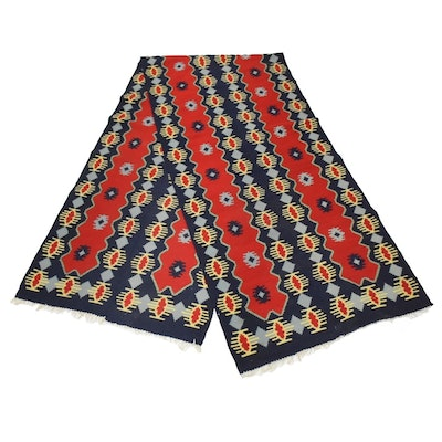 Pair of Hand Woven Kilim Runners in Red, Navy and Gray Sewn Together
