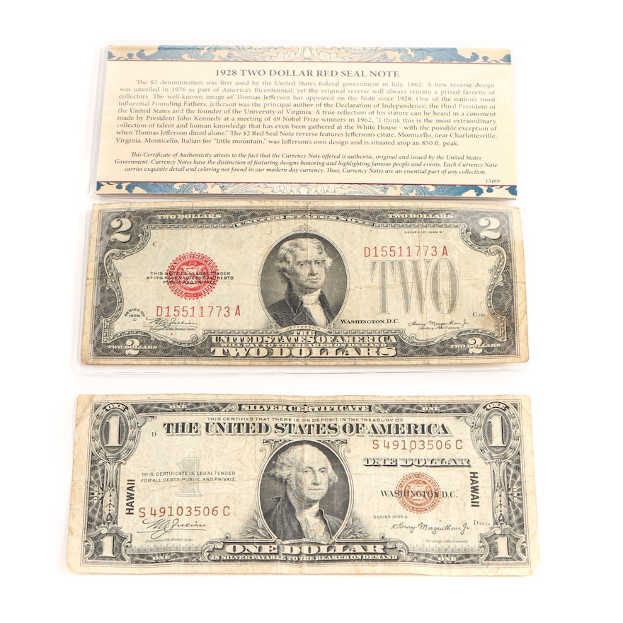 1935 A Brown Seal Hawaii Silver Certificate and 1928 D Red Seal Two ...