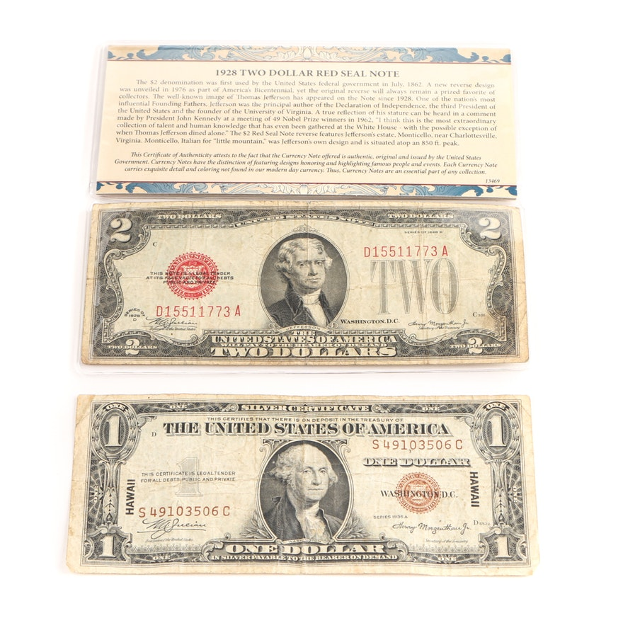 1935 A Brown Seal Hawaii Silver Certificate And 1928 D Red Seal Two
