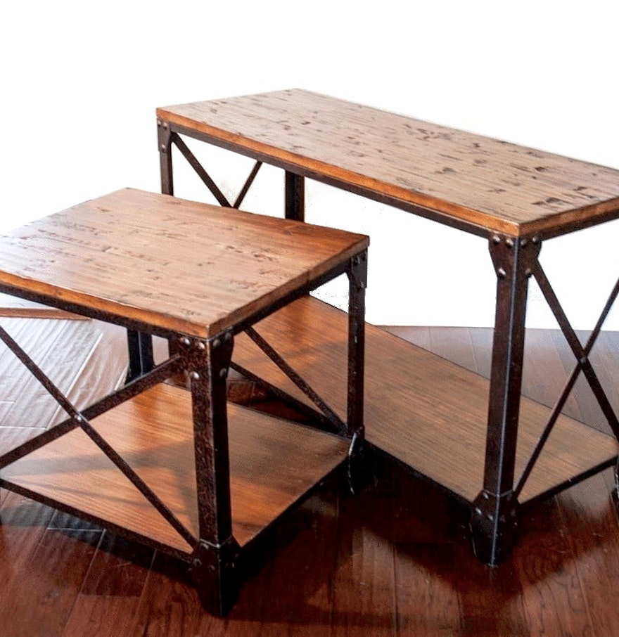 Industrial Style Reclaimed Wood Sofa End Tables Ebth
