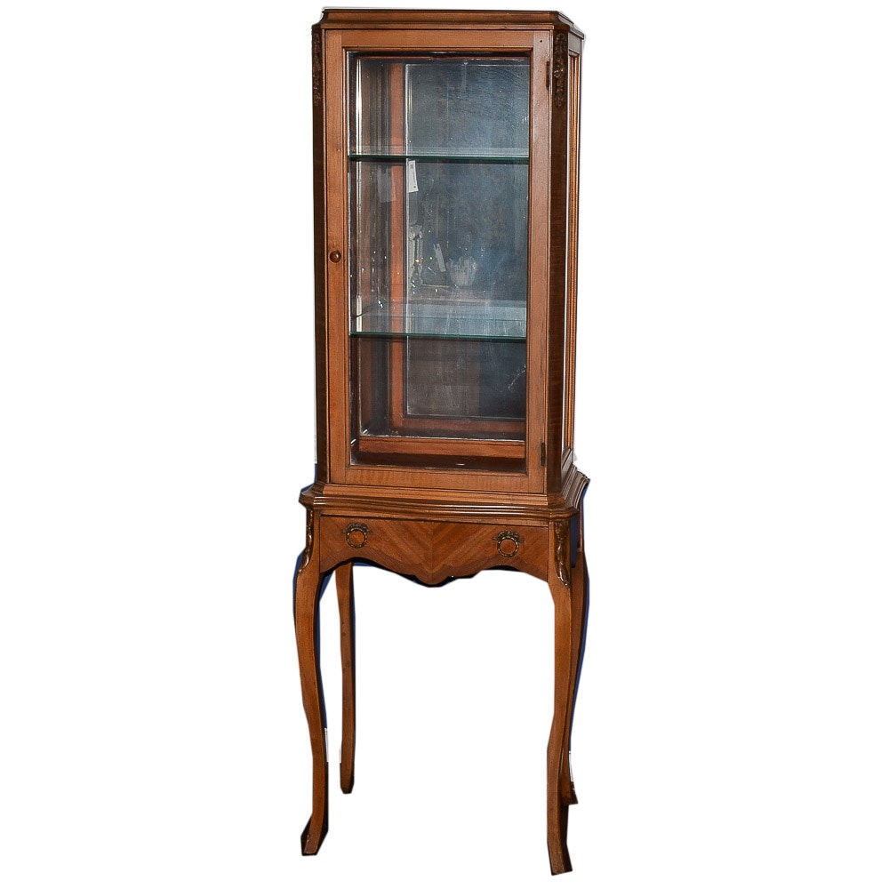 Vintage Louis XV Style Walnut Display Case