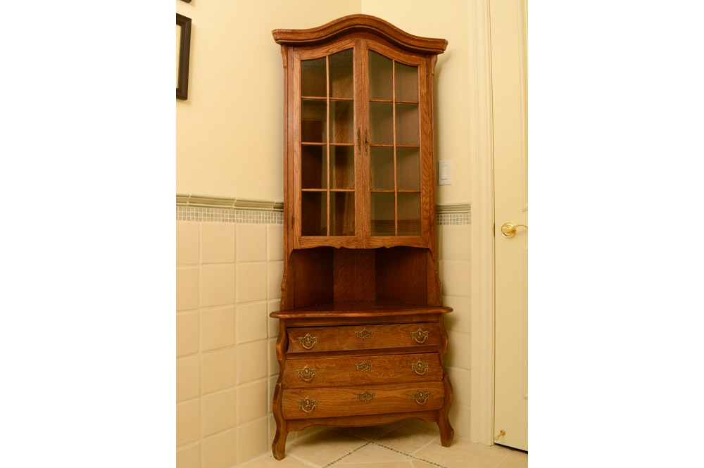 Country Bombe Style Oak Corner Cabinet