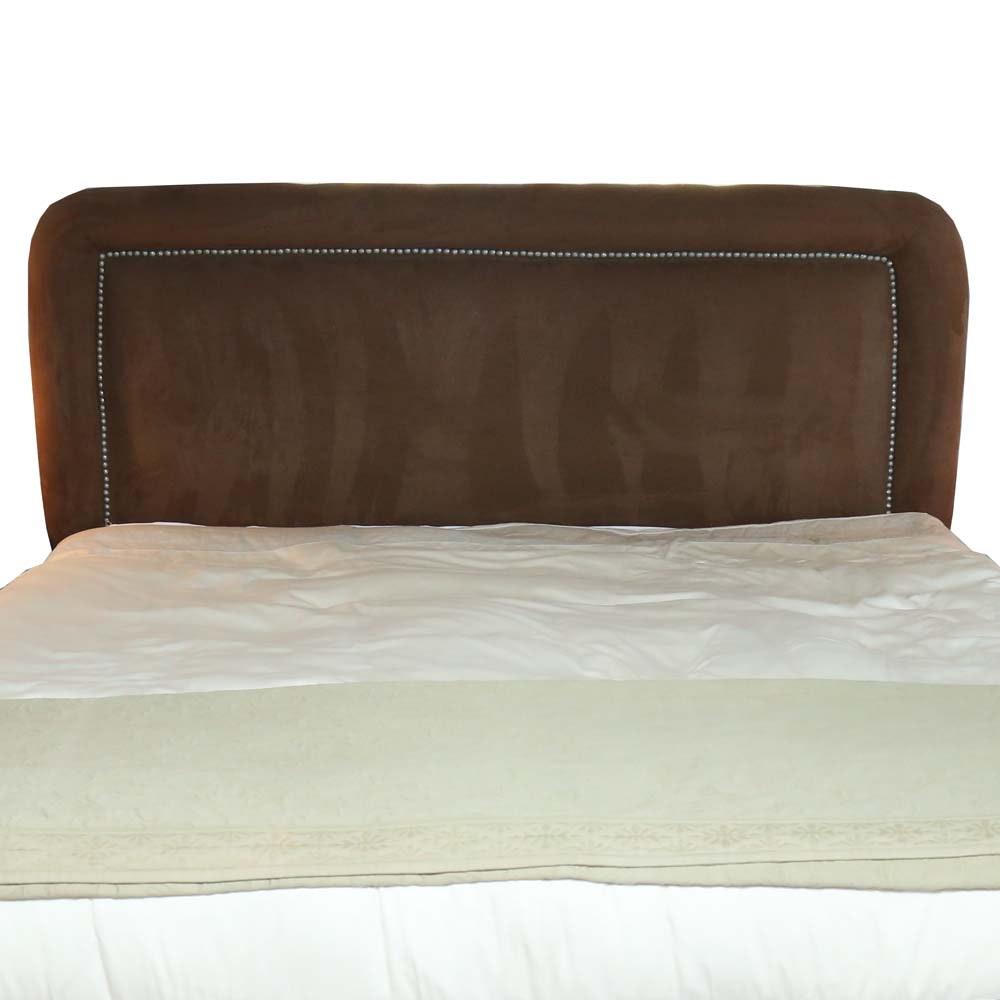 brown suede upholstered king headboard